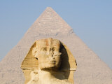 Sphinx and the Pyramid of Khafre, Giza, Near Cairo, Egypt Photographic Print by Schlenker Jochen