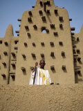 Man Outside the Great Mosque, the Largest Dried Earth Building in the World, Djenne, Mali Photographic Print by Pate Jenny