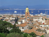 The Town Skyline with Ships in the Bay in the Background, St. Tropez, France, Europe Photographic Print by Richardson Rolf