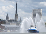 Fires Boats on River Seine and Rouen Cathedral Behind, Rouen, Normandy, France, Europe Photographic Print by Thouvenin Guy