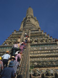 Tourists Climb the Steps of Wat Arun, in Bangkok, Thailand, Southeast Asia Photographic Print by Wilson Ken