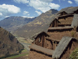Community Food Storehouses at an Inca Site in the Urubamba Valley, Pisac, Peru, South America Photographic Print by Rennie Christopher