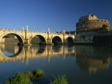 View across River Tiber to the Ponte Sant'Angelo and Castel Sant'Angelo, Rome, Lazio, Italy, Europe Photographic Print by Tomlinson Ruth