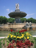 Flowers in Front of La Rotonde Fountain in Aix En Provence, Provence, France, Europe Photographic Print by Rainford Roy