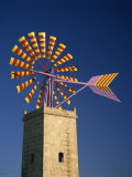 Windmill with Sails in the Colours of the Mallorcan Flag, Mallorca, Balearic Islands, Spain Photographic Print by Tomlinson Ruth