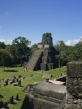 Temple II, Great Plaza, Tikal, UNESCO World Heritage Site, Guatemala, Central America Photographic Print by Traverso Doug