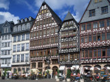 Street Scene with Pavement Cafes, Bars and Timbered Houses in the Romer Area of Frankfurt, Germany Photographic Print by Tovy Adina