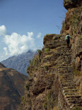 Narrow Path Along the Edge of a Cliff at an Inca Site in the Urubamba Valley, Pisac, Peru Photographic Print by Rennie Christopher