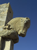 Detail, Carving of Horse on Gateway to Hall of One Hundred Columns, Persepolis, Iran, Middle East Photographic Print by Rennie Christopher