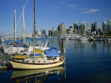 Boats in the Marina at Stanley Park with Skyline of Vancouver Behind, British Columbia, Canada Photographic Print by Renner Geoff