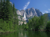 Merced River, Yosemite Falls in the Background, Yosemite National Park, California, USA Photographic Print by Tomlinson Ruth