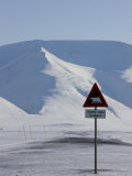 Polar Bear Sign, Longyearbyen, Svalbard, Spitzbergen, Arctic, Norway, Scandinavia, Europe Photographic Print by Milse Thorsten