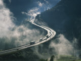 Cloud on Either Side of Elevated Road at the Brenner Pass in Austria, Europe Photographie par Rainford Roy
