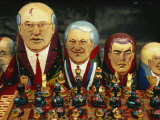Russian Dolls Depicting Russian Politicians for Sale in the Arbat and Raft Market, Moscow, Russia Photographic Print by Taylor Liba