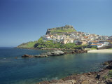 Rocky Coast and the Houses and Fort of Castelsardo on the Island of Sardinia, Italy, Mediterranean Photographic Print by Terry Sheila