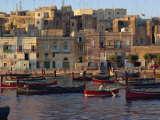 Boats Moored in Valletta Harbour at Dusk, Malta, Mediterranean, Europe Photographic Print by Woolfitt Adam