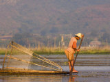 Fisherman on Inle Lake, Shan States, Myanmar Photographic Print by Schlenker Jochen