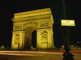 Place Charles De Gaulle Street Sign and the Arc De Triomphe Illuminated at Night, Paris, France Photographic Print by Rainford Roy