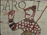 Death of King Harold Showing an Arrow in His Eye, Bayeux Tapestry, Bayeux, Normandy, France, Europe Photographic Print by Rawlings Walter