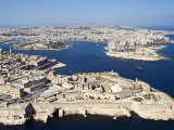 Aerial View of Valletta and St. Elmo Fort, Manoel Island, and Dragutt Point on the Right, Malta Photographic Print by Tondini Nico