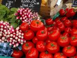 Radishes and Tomatoes on a Market Stall, France, Europe Photographic Print by Richardson Peter