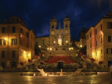 Spanish Steps Illuminated at Night in the City of Rome, Lazio, Italy, Europe Photographic Print