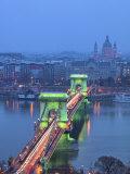 Chain Bridge over River Danube, UNESCO World Heritage Site, Budapest, Hungary, Europe Photographic Print by Edwardes Guy