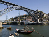 Dom Luis 1 Bridge over the River Douro, Cais De Ribeira Waterfront, Oporto, Portugal Photographic Print by White Gary