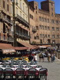 Street Scene of Cafes on the Piazza Del Campo in Siena, UNESCO World Heritage Site, Tuscany, Italy Photographic Print by Groenendijk Peter