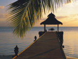 Couple Looking at Sunset on a Jetty, Maldives, Indian Ocean Photographic Print by Papadopoulos Sakis
