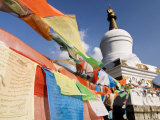 Buddhist Prayer Flags and Stupa Atop Paoma Shan, Kanding, Sichuan, China Photographic Print by Porteous Rod