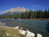 Bow River with Trees and Castle Mountain Beyond in the Banff National Park, Alberta, Canada Photographic Print by Merten Hans Peter
