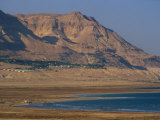 Receding Sea in Foreground, Ein Gedi Kibbutz and Mount Ishai Beyond, Ein Gedi, Dead Sea, Israel Photographic Print by Simanor Eitan