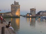 Couple Sitting on the Harbour-Side at La Rochelle, Charente-Maritime, France, Europe Photographic Print by Stuart Hazel