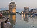 Couple Sitting on the Harbour-Side at La Rochelle, Charente-Maritime, France, Europe Photographic Print by Stuart Hazel