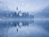 Lake Bled at Dawn in Winter with Assumption of Mary's Pilgrimage Church, Slovenia, Europe Photographic Print by Edwardes Guy