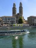 Sightseeing Boat on the River Limmat in Front of Grossmunster Church, Zurich, Switzerland, Europe Photographic Print by Richardson Peter