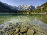 Mangart Mountain Reflected in Lake at Lago Di Fusine, Julian Alps, Friuli-Venezia Giulia, Italy Photographic Print by Edwardes Guy