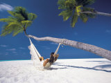 Woman in Hammock on Beach, Maldives, Indian Ocean Photographic Print by Papadopoulos Sakis