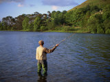 Fly Fishing on the River Dee, Grampians, Scotland, United Kingdom, Europe Photographic Print by Groenendijk Peter