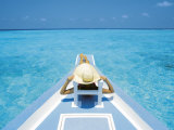 Woman Relaxing on Deck of Boat, Maldives, Indian Ocean Photographic Print by Papadopoulos Sakis