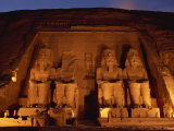 Colossi of Ramses II, Floodlit, Great Temple of Ramses II, Abu Simbel, Egypt Photographic Print by Strachan James