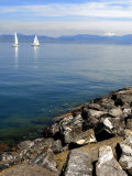 Sailing Boats, Lac Leman, Evian-Les Bains, Haute-Savoie, France, Europe Photographic Print by Richardson Peter