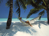 Man Relaxing on a Beachside Hammock, Maldives, Indian Ocean Photographic Print by Papadopoulos Sakis