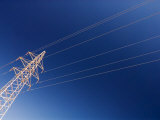 Electricity Pylon Against Blue Sky, Dunhuang, Gansu, China Photographic Print by Porteous Rod