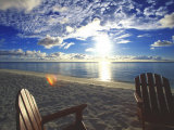 Two Deckchairs on the Beach at Sunset, Maldives, Indian Ocean Photographic Print by Papadopoulos Sakis