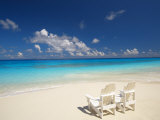 Two Deck Chairs on Tropical Beach Facing Sea, Maldives, Indian Ocean Photographic Print by Papadopoulos Sakis