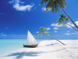 Dhoni Moored by Empty Beach, Maldives, Indian Ocean Photographic Print by Papadopoulos Sakis