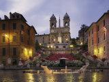 Spanish Steps Illuminated in the Evening, Rome, Lazio, Italy, Europe Fotografie-Druck