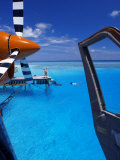 View from a Seaplane Cockpit of Man Swimming, Maldives, Indian Ocean Photographic Print by Papadopoulos Sakis